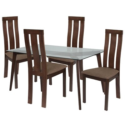 Smotherman 5 Piece Dining Set Chair Color: Brown