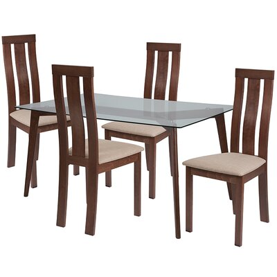 Smotherman 5 Piece Dining Set Chair Color: Beige