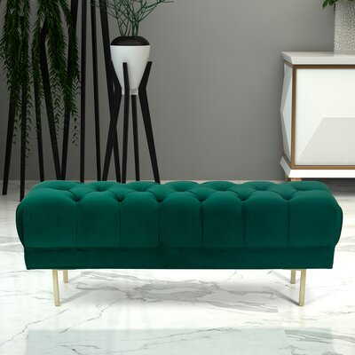 Hovey Upholstered Bench Upholstery: Emerald