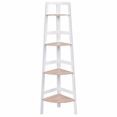Call 4-Tier Wood Ladder Wall Display Corner Unit