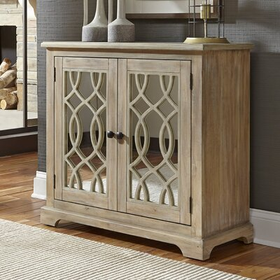 Canales 2 Door Mirrored Accent Cabinet Color: Brown