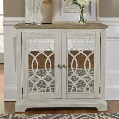 Canales 2 Door Mirrored Accent Cabinet Color: White
