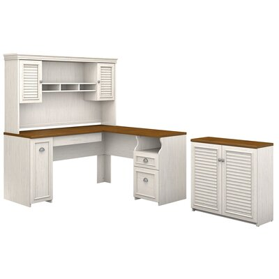 Oakridge 3 Piece L-shaped Desk Office Suite Color: Antique White