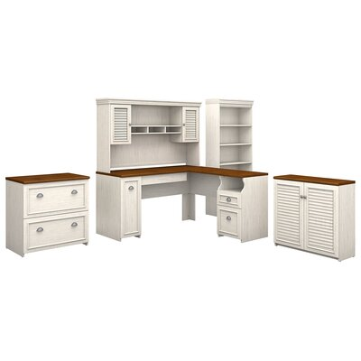 Oakridge 5 Piece L-shaped Desk Office Suite Color: Antique White