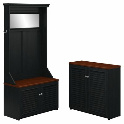 Oakridge Hall Tree with Shoe Bench and Small Storage Cabinet Color: Antique Black
