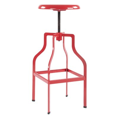 Compton Adjustable Height Swivel Bar Stool Color: Red