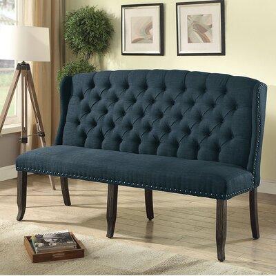 Teresa Upholstered Bench Upholstery: Blue