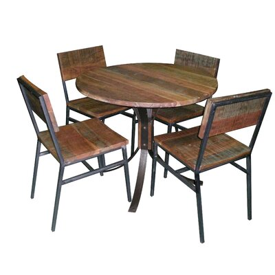 Boyle Wood and Iron 5 Piece Dining Set