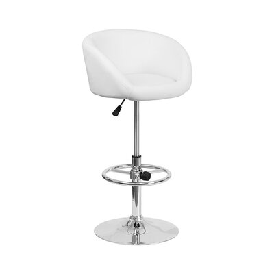 Mathew Adjustable Height Swivel Bar Stool Upholstery: White