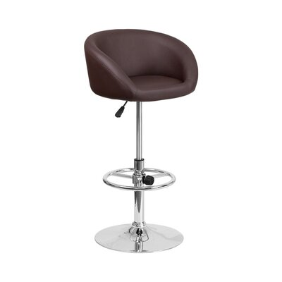 Mathew Adjustable Height Swivel Bar Stool Upholstery: Brown