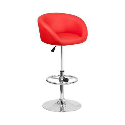 Mathew Adjustable Height Swivel Bar Stool Upholstery: Red