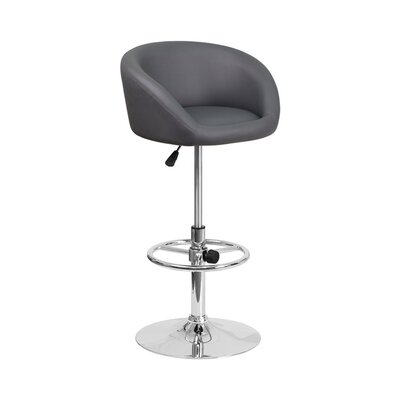 Mathew Adjustable Height Swivel Bar Stool Upholstery: Gray