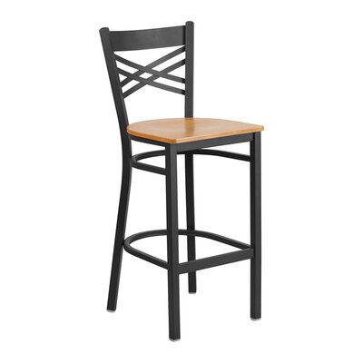 "Spooner 29"" Bar Stool Seat Color: Black/Yellow"