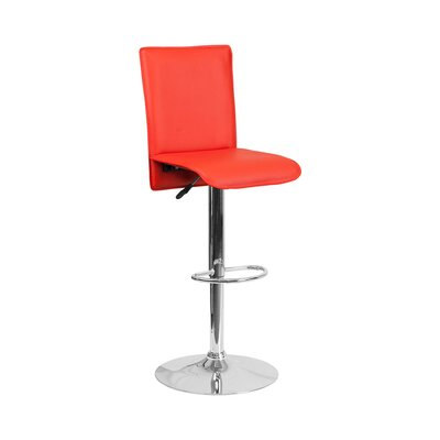 Huck Adjustable Height Swivel Bar Stool Seat Color: Red