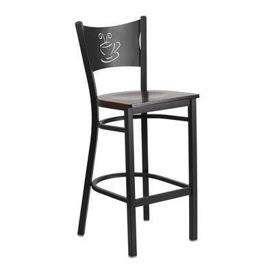 "Spradley 29"" Bar Stool Seat Color: Black/Red"