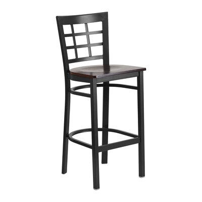 "Spruce Hill 28.75"" Bar Stool Seat Color: Black/Red"