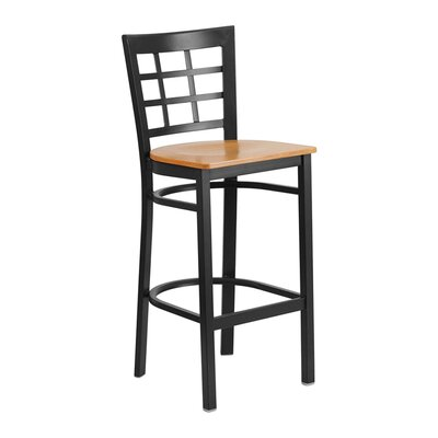 "Spruce Hill 28.75"" Bar Stool Seat Color: Black/Yellow"