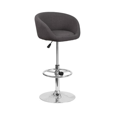 Mathew Adjustable Height Swivel Bar Stool Upholstery: Charcoal
