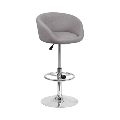 Mathew Adjustable Height Swivel Bar Stool Upholstery: Light Gray