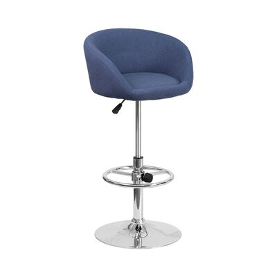 Mathew Adjustable Height Swivel Bar Stool Upholstery: Blue