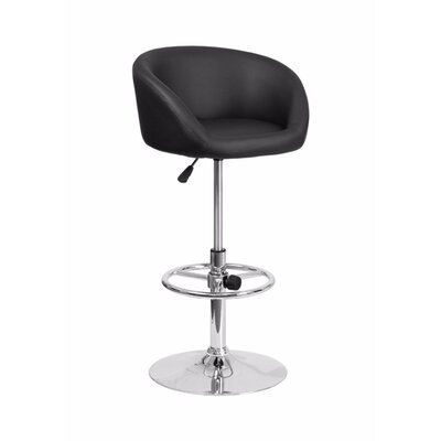Mathew Adjustable Height Swivel Bar Stool Upholstery: Dark Gray