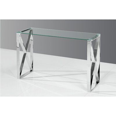 Adan Console Table Table Top Color: Clear, Table Base Color: Silver