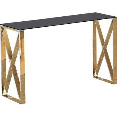 Adan Console Table Table Top Color: Black, Table Base Color: Gold