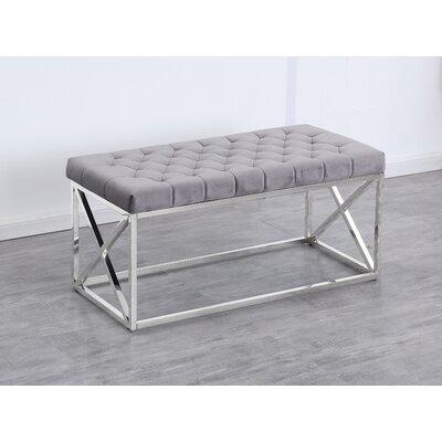 Genoa Velvet Upholstered Bench Upholstery: Gray, Color: Silver