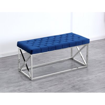 Genoa Velvet Upholstered Bench Upholstery: Navy Blue, Color: Silver