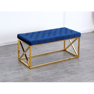 Genoa Velvet Upholstered Bench Color: Gold, Upholstery: Navy Blue