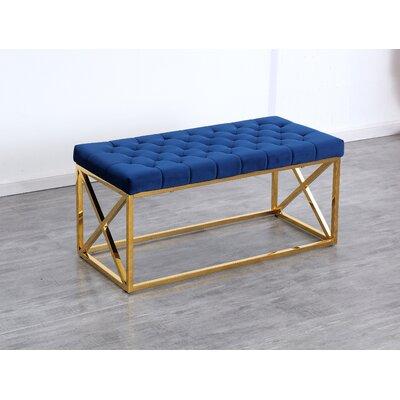 Genoa Velvet Upholstered Bench Color: Gold, Upholstery: Navy Blue