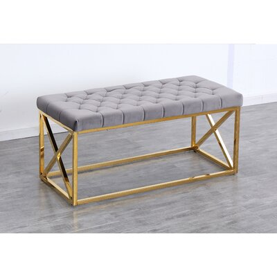 Genoa Velvet Upholstered Bench Color: Gold, Upholstery: Gray