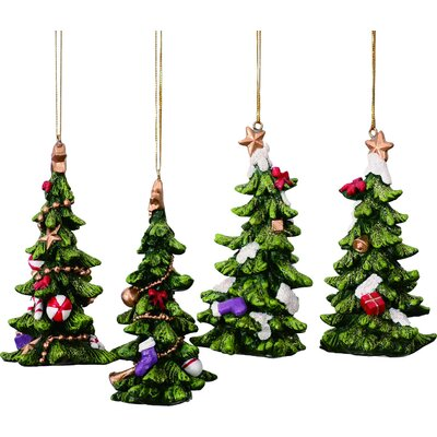 4 Piece Walter Holiday Tree Shaped Ornament Set