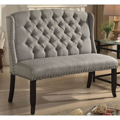 Meda Tufted High Back 2-Seater Love Seat Upholstered Bench Nailhead Detail: Brown, Upholstery: Light Gray
