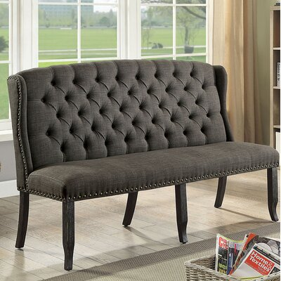 Otero Tufted High Back 3-Seater Love Seat Upholstered Bench Nailhead Detail: Gold, Upholstery: Gray