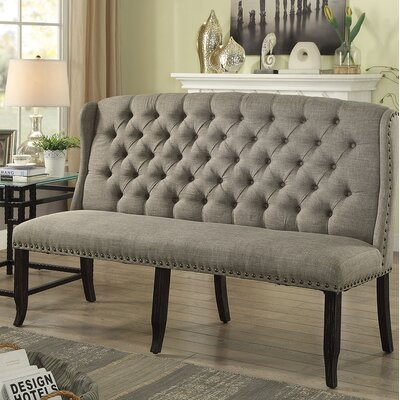 Otero Tufted High Back 3-Seater Love Seat Upholstered Bench Nailhead Detail: Brown, Upholstery: Light Gray
