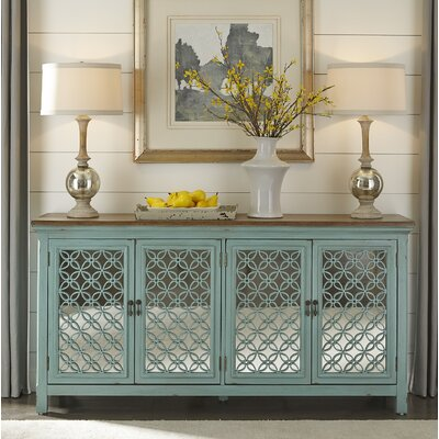 Copper 4 Door Accent Cabinet Color: Brown/Turquoise