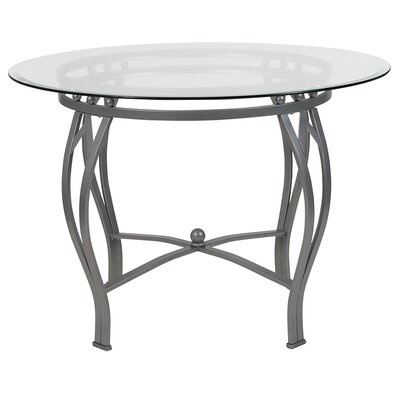 "Velasquez Counter Height Dining Table Size: 29.5"" H x 48"" L x 48"" W, Base Color: Silver"