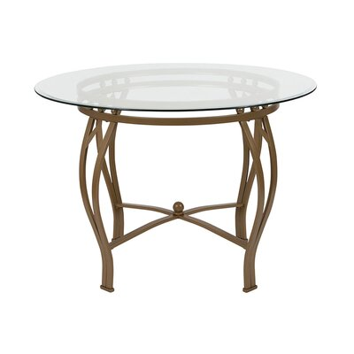 "Velasquez Counter Height Dining Table Size: 29.5"" H x 42"" L x 42"" W, Base Color: Matte Gold"