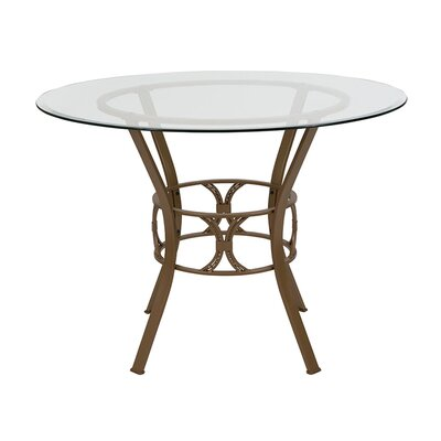 """Velasco Counter Height Dining Table Size: 29.5"""" H x 48"""" L x 48"""" W, Base Color: Matte Gold"""