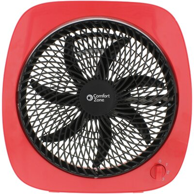 "Square Turbo 10"" Table Fan Finish: Red/Black"