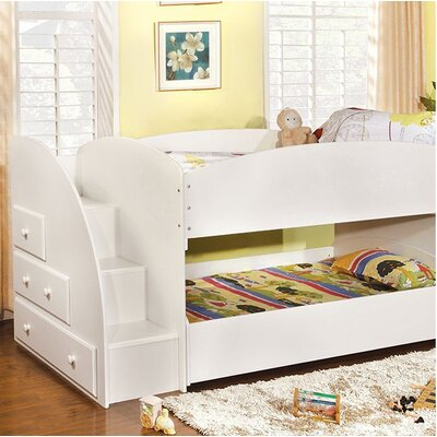 Craut Twin over Twin Low Loft Bed with Drawer Bed Frame Color: White