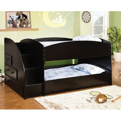 Craut Twin over Twin Low Loft Bed with Drawer Bed Frame Color: Black