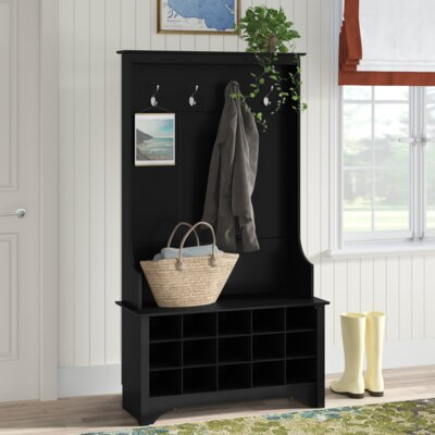 Flatiron Hall Tree with Shoe Storage Color: Black