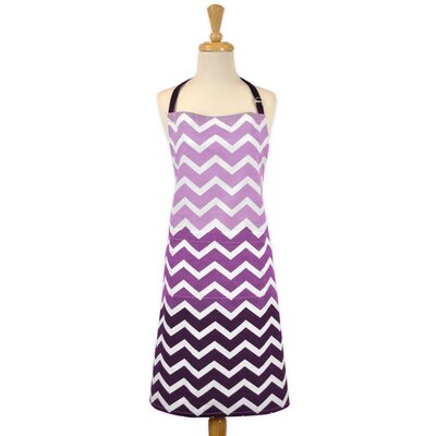 Chevron Chef Kitchen Apron Color: Purple