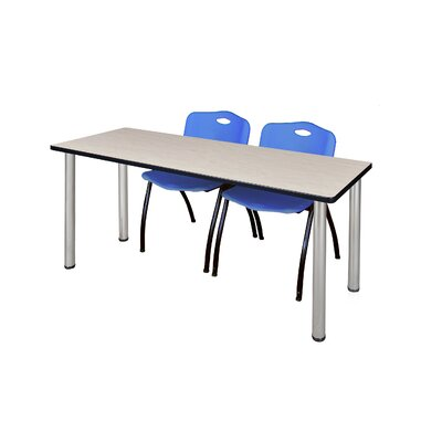 "72"" L Leiser Training Table with Stack Chairs Base Finish: Black, Chair Color: Blue, Tabletop Finish: Gray"