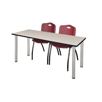 """72"""" L Leiser Training Table with Stack Chairs Base Finish: Black, Chair Color: Burgundy, Tabletop Finish: Gray"""