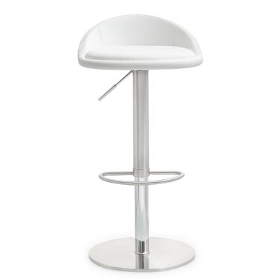Mcgee Adjustable Height Swivel Bar Stool Upholstery: White