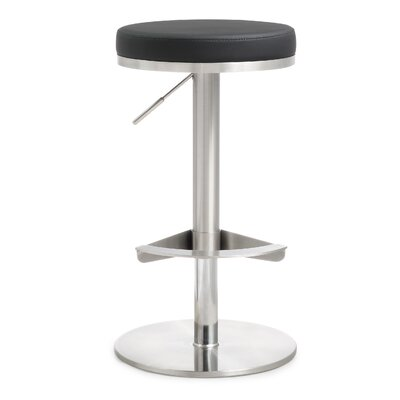 Aliyah Adjustable Height Swivel Bar Stool Upholstery: Black