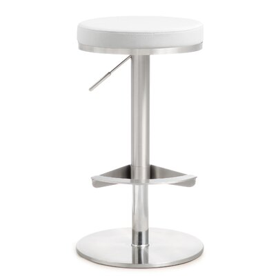 Aliyah Adjustable Height Swivel Bar Stool Upholstery: White